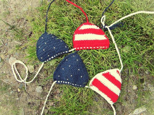 swimwear bikini crochet bikini crochet top stripes and stars summer top summer bikini top handmade handmade crochet american flag american flag crop top american flag bikini merica red white and blue july 4th crochet bikini