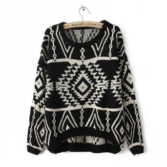 Amazon.com: Black Long Sleeve Geometric Pullovers Sweater for Women: Clothing