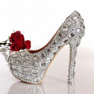 Sparkly Rhinestone Crystal Bridal Prom Heels Party Shoes 4 5 6 7 7 1 2 8 8 1 2 | eBay