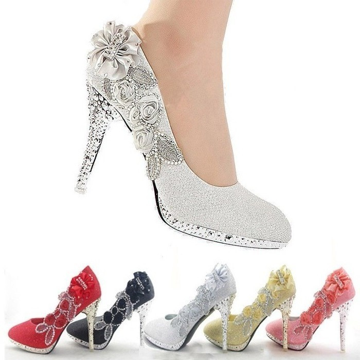 Glitter Gorgeous Wedding Bridal Evening Party Crystal High Heels Women Shoes-in Pumps from Shoes on Aliexpress.com