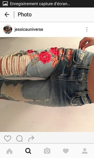 jeans denim pantalon embroidered jeans roses flowers fleurs denim roses broderies embroidered