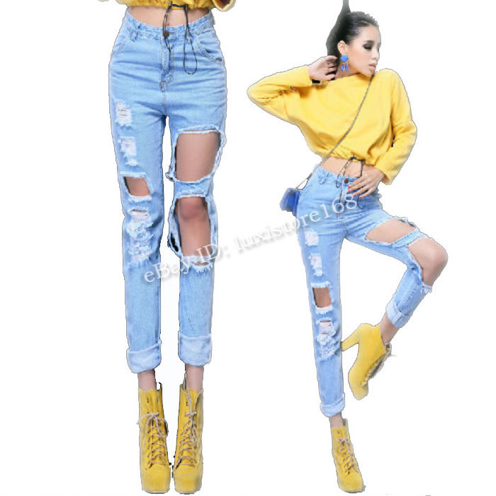 Womens Destroyed Ripped Motorcycle Pants Distressed Denim Crop Jeans High Waist | eBay