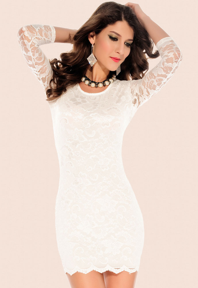 New Sexy White Cocktail Dress 3 4 Sleeve Lace Sheer Hollow Out Mini Bodycon 2808   eBay