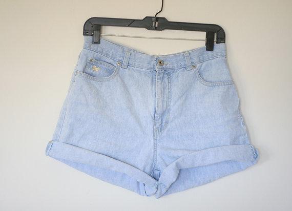 Light Blue Jean Shorts Denim High Waist Vintage 80s by heartcity