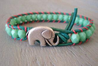 jewels elephant animal animals green teal pink summer boho tropical tumblr blogger ebay silver silver bracelet bracelets charm bracelet diva make-up equip jewelry frantic jewelry bohemian bohemian bracelet