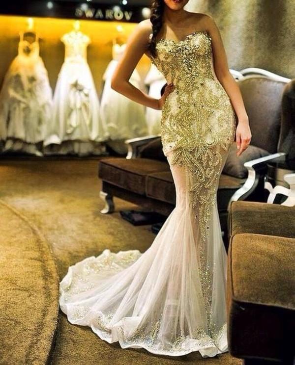 dress swarovski glitter dress beaded dress wedding dress long prom dress prom dress Gold beaded dress silver beaded bodice mesh dress detailed dress