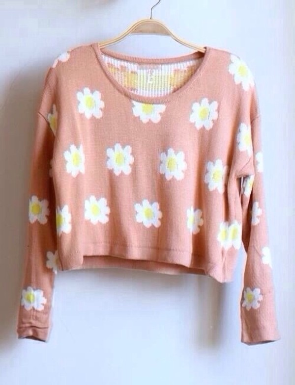 sweater flowers daisy's jumper spring cute pink