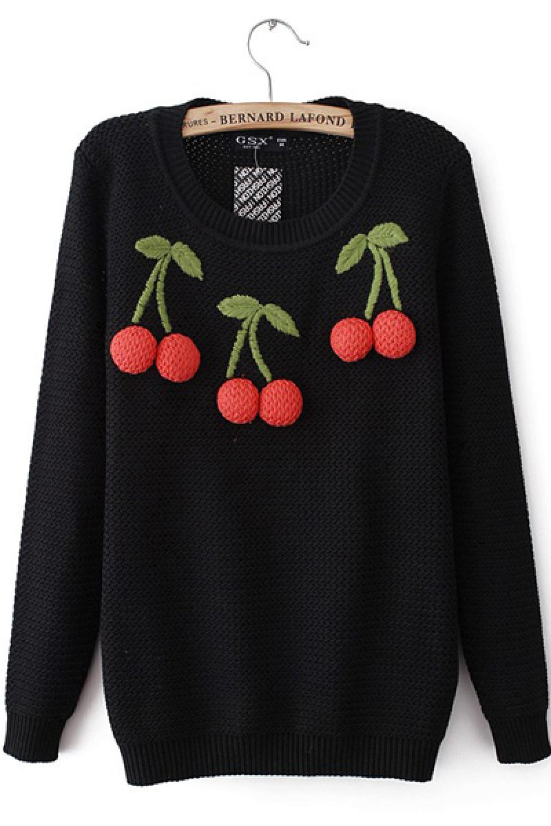 New Western Cherries Stitching Knitted Sweater,Cheap in Wendybox.com