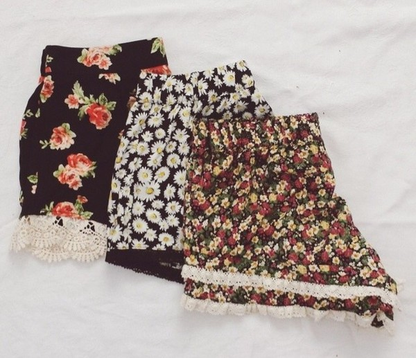 shorts floral sunflower red yellow black