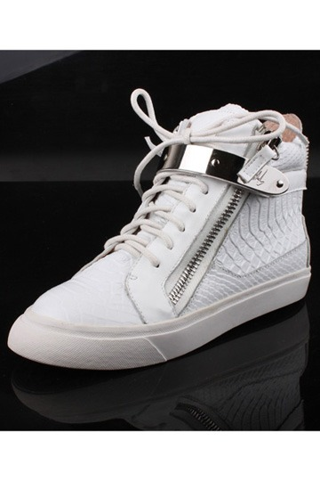 White Crocodile Pattern Casual Sneakers [is00095]- US$ 98.99 - PersunMall.com