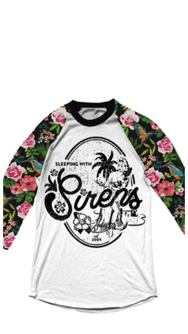 shirt sleepin with sirens floral 3/4th sleeve band clothes band t-shirt