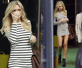 striped dress tight stripes hollywood glamour actress blonde hair horizontal stripes long sleeve dress bodycon dress girly urgent asap emergency
