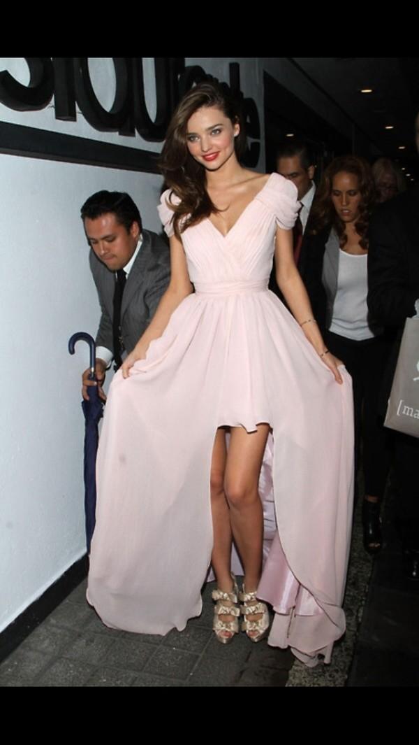 dress light pink miranda kerr long dress v neck dress