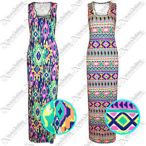 WOMENS LADIES NEON PRINT MAXI DRESSES RACER BACK MUSCLE VEST DRESS LONG SKIRTS | eBay