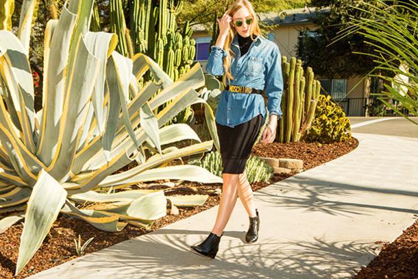 eat sleep wear blogger belt denim shirt leather skirt moschino shirt jeans dress shoes