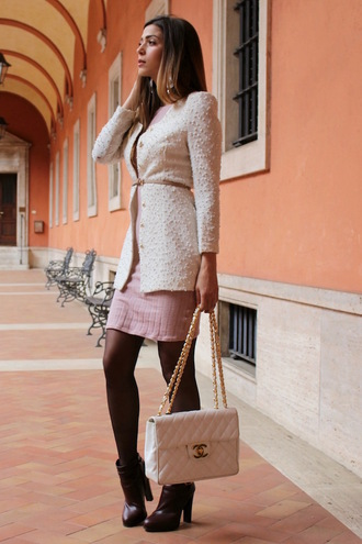 cosamimetto blogger dress jacket jewels shoes bag pink dress chanel chanel bag ankle boots winter outfits