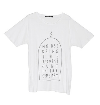 shirt white boy menswear quote on it minimalist no use being the richest cunt in cemetary clothes money cash picture drawn lines