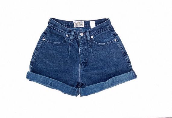 Dark blue cuffed high waist shorts 1990s by NighthawksVintage
