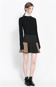 Mini Skater Skirts In Textured Colourblock - Skirts - OuterInner.com
