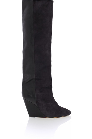 Isabel Marant | Prescott suede and leather knee boots | NET-A-PORTER.COM