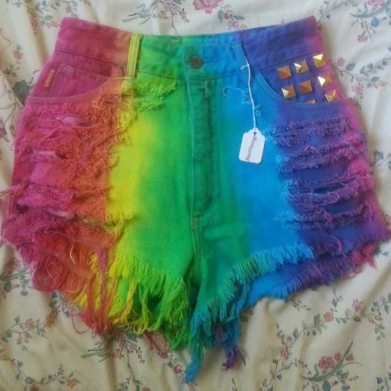 High Waisted Rainbow Dyed Denim Shorts by NeoVintageApparel