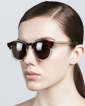 Illesteva | Leonard II Round Sunglasses, Brown/Gray - CUSP