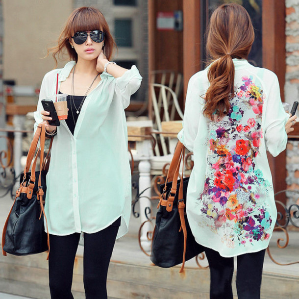 top style t-shirt floral casual