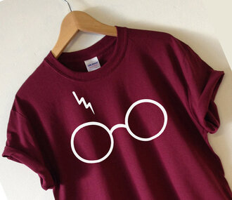 t-shirt potter harry harry potter thunder burgundy geek