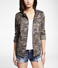CAMOUFLAGE STRETCH COTTON JACKET | Express