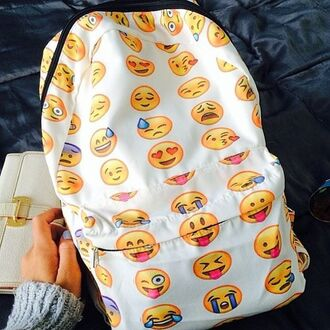 backpack emoji print emoji book bag bookbag school bag cool white backpack bag