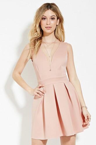 dress pink dress pink forever 21 v neck dress pleated dress