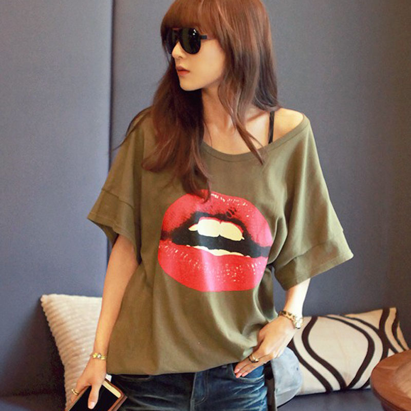 2014 summer street fashion red lip print loose large medium long women t shirt short sleeve top women's-inT-Shirts from Apparel & Accessories on Aliexpress.com