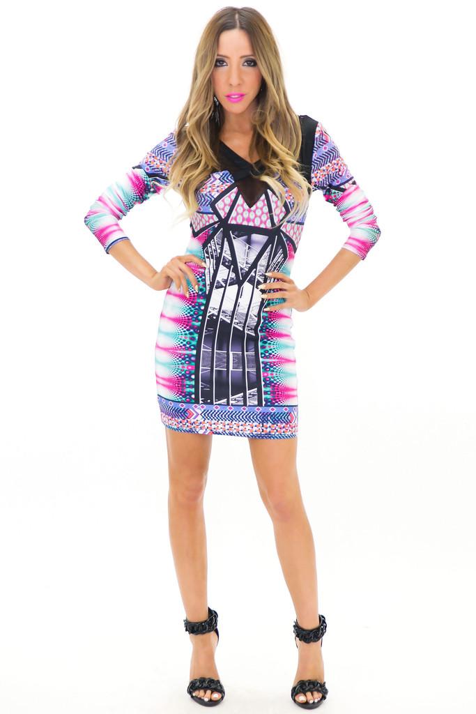 HESSAN MIRROR PRINT KNIT DRESS   Haute & Rebellious