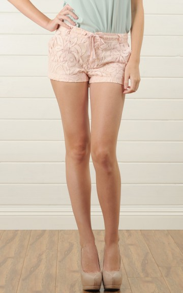 ICP101 Pink Lace Shorts With Drawstring and Shop Apparel at MakeMeChic.com