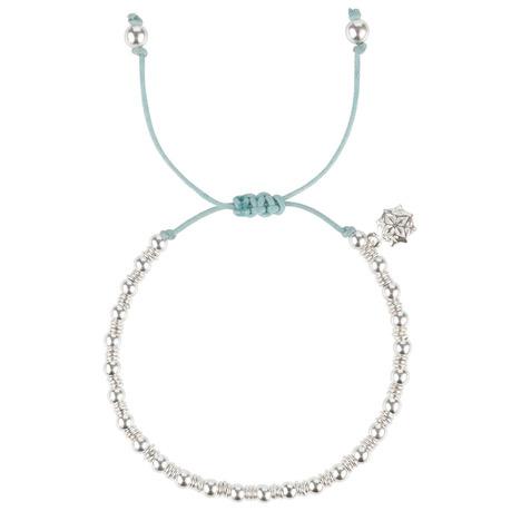 Sterling Silver Aqua Misanga Bracelet, Misanga - Dower & Hall, London