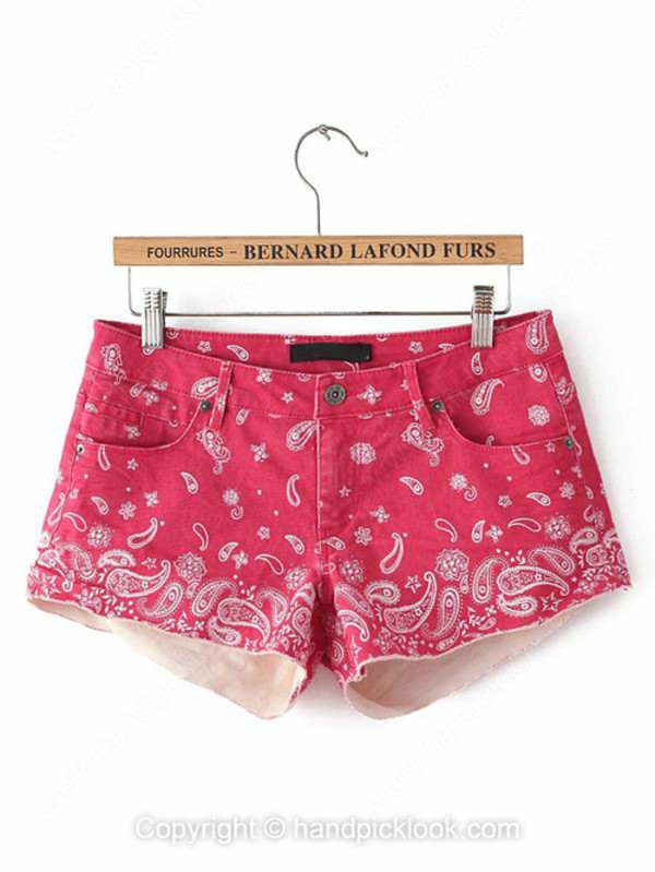 red shorts printed shorts denim shorts summer shorts jeans handpicklook.com