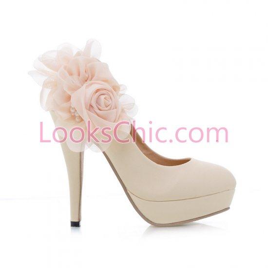 Flower Beige Pumps Bride Shoes Imitation leather Online Sale   LooksChic