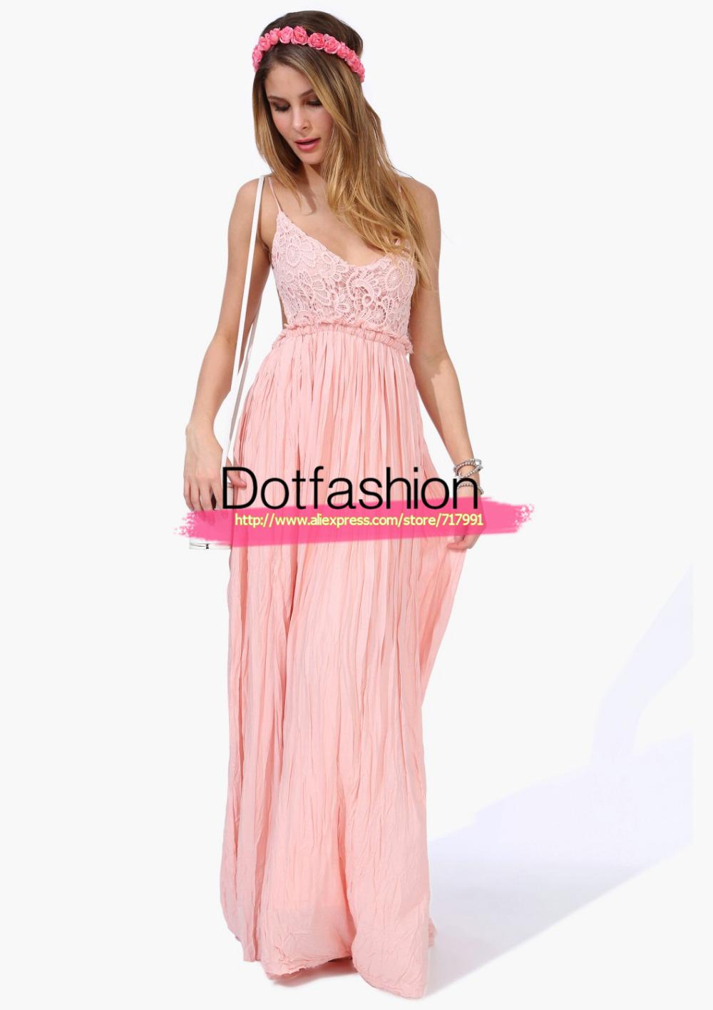 neuen 2014 sommermode frauen sexy kleidung hochzeit elegante rosa spaghetti stickerei plissierte backless in  von  auf Aliexpress.com