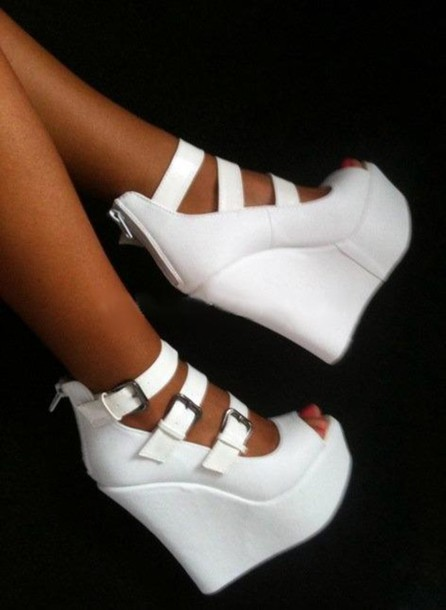 Shoes: white high heels high heels white wedges white wedges