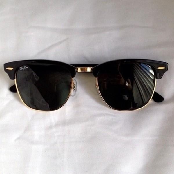 rayban black sunglasses sunglasses black gold tumblr sun holidays fashion rayban summer