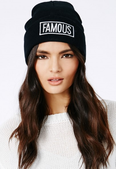 Slavka Famous Beanie In Black - Hats, Scarves & Gloves - Hats - Missguided