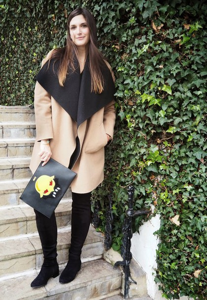 fashion foie gras blogger pouch camel coat black pouch