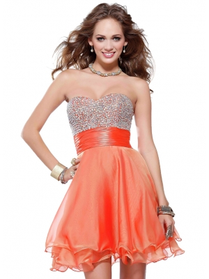 Buy Charming Sweetheart Beadings Organza Homecoming Dress under 200-SinoAnt.com