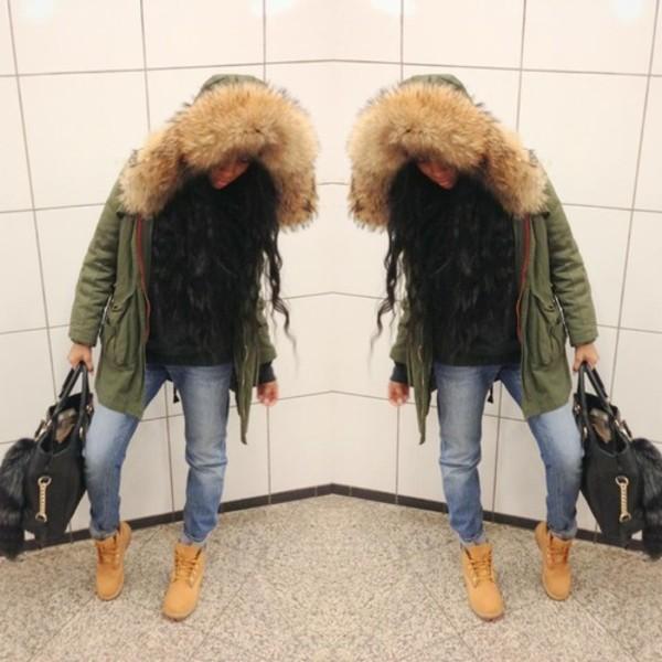 coat jacket fur green parke fur hood