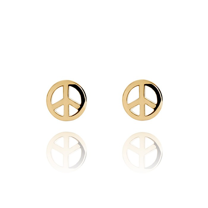 Peace Sign Gold Vermeil Stud Earrings :: Fresh Purple Jewellery