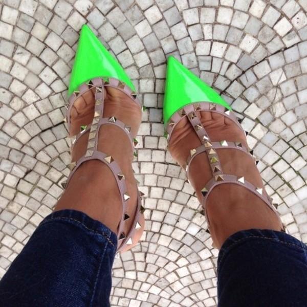 shoes green heels beige high heels studs neon