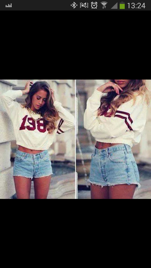 shorts denim jacket sweatshirt pullover denim shorts necklace crop tops crop tops jeans top tie dye white red bleu short ripped blue bleu short chic sweater