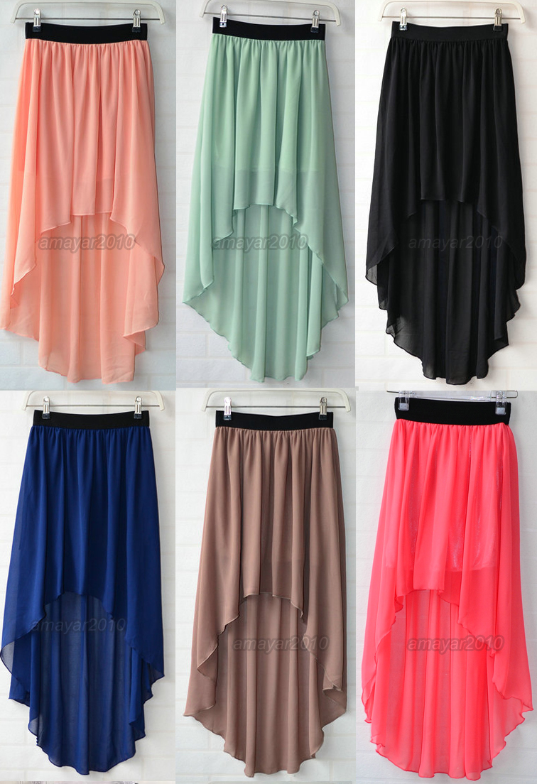 Sexy Asym Hem Chiffon Skirt High Low Asymmetrical Long Maxi Dress Elastic Waist | eBay