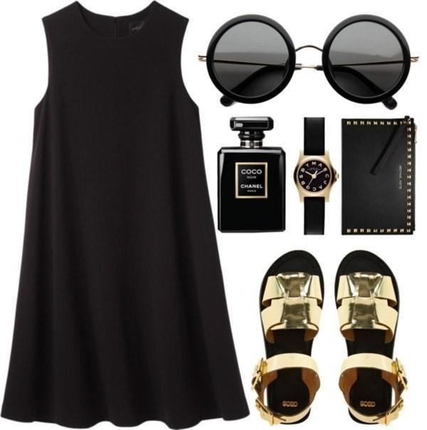 dress black sunglasses sandals little black dress shoes