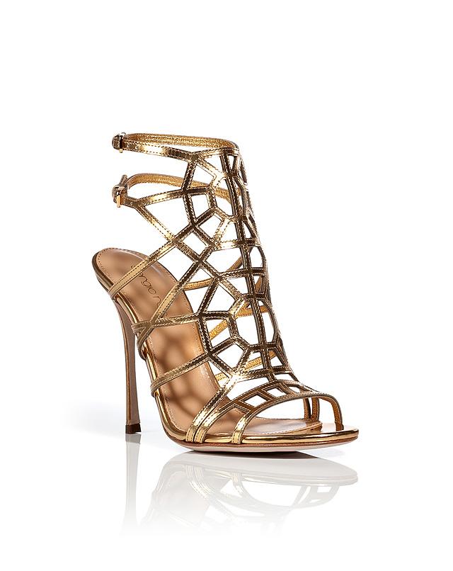 MetallicLeatherCageSandalsfromSERGIOROSSI | Luxury fashion online | STYLEBOP.com